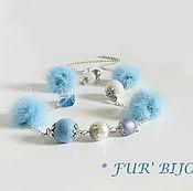Украшения handmade. Livemaster - original item Beads.Necklace with fur. Blue mink. Handmade.