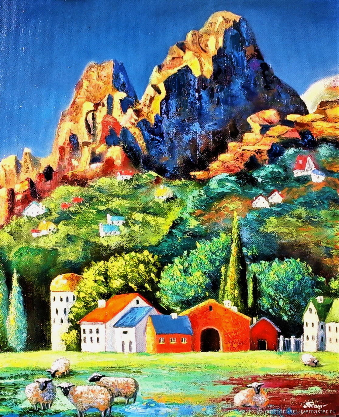 Oil painting with the mountain Air of the foothills, Pictures, Kamenka,  Фото №1