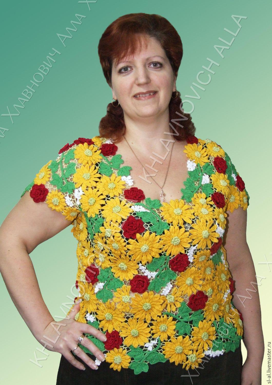 Летняя блузка с ирландской вязкой
