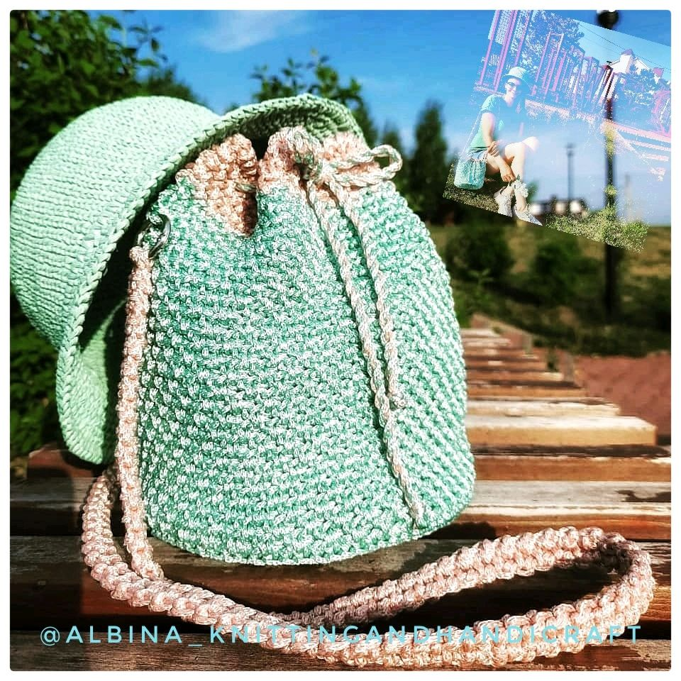 Комплект вязаной шляпы из рафии и вязаной мятной сумки торбы из шнура, Шляпы, Туймазы,  Фото №1