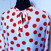 Одежда handmade. Livemaster - original item Daria blouse M / red peas on white. Handmade.