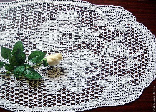 Дорожка, салфетка кружевная,, вязаная салфетка, дорожка крючком , красивая салфетка, интерьер в стиле проваес, кантри, белый, кремовый.