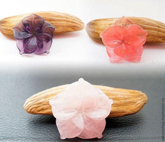 Для украшений ручной работы. Ярмарка Мастеров - ручная работа. Купить Цветок-коннектор в ассортименте (кварц розовый,черри,лунный кам.) 40мм. Handmade.