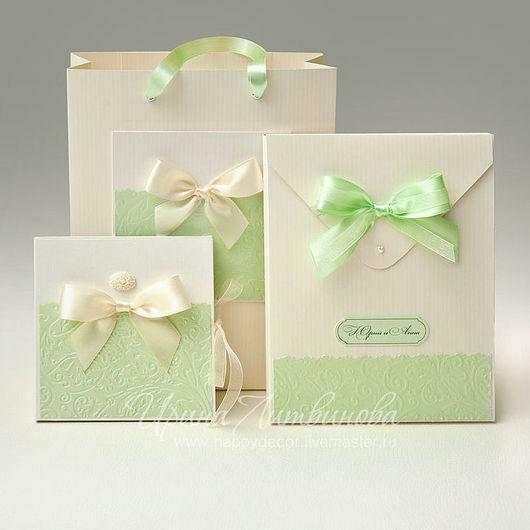 """Подарочная упаковка ручной работы. Комплект для фотографа """"Мятный"""". Коробочка для диска, конверт для фотографий, пакет. Ирина Литвинова. Ярмарка мастеров."""