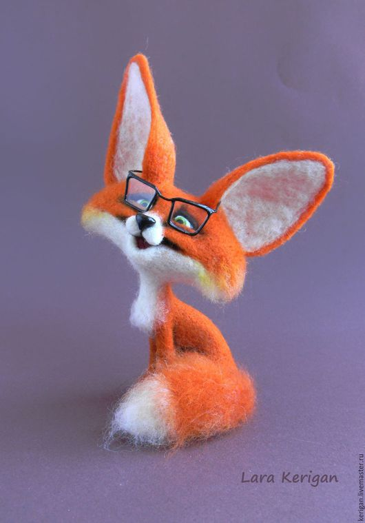 Игрушки животные, ручной работы. Ярмарка Мастеров - ручная работа. Купить Лисенок в очках. Handmade. Рыжий, валяная игрушка