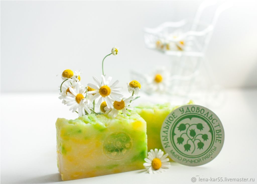 Handmade soap from scratch with natural Chamomile floral white wreath, Soap, Novye Burasy,  Фото №1