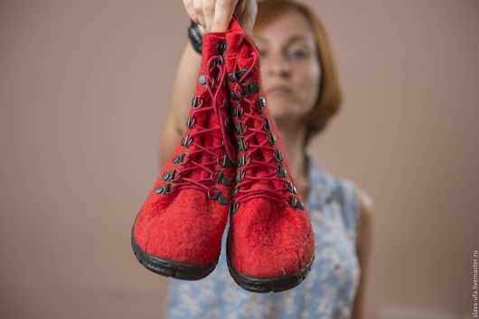 Обувь ручной работы. Ярмарка Мастеров - ручная работа. Купить Ботинки Алый рассвет. Handmade. Обувь ручной работы, ботфорты