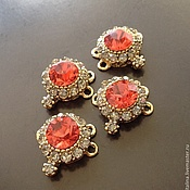 Материалы для творчества handmade. Livemaster - original item The connector art. 3-18 with a red crystal and cubic Zirconia coated with a s. Handmade.