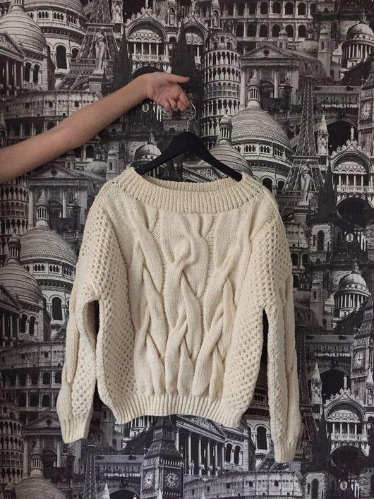 Кофты и свитера ручной работы. Ярмарка Мастеров - ручная работа. Купить Объёмный свитер косами. Handmade. Свитер, свитер оверсайз