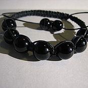 Braided bracelet handmade. Livemaster - original item Braided Shambala bracelet with black agate. Handmade.