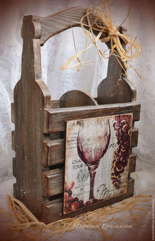 Кухня ручной работы. Ярмарка Мастеров - ручная работа. Купить Короб для вина на 2 бутылки. Handmade. Коричневый, короб декупаж
