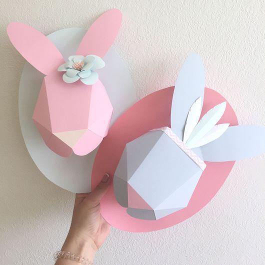 Детская ручной работы. Ярмарка Мастеров - ручная работа. Купить Полигональный заяц на стену. Handmade. Заяц, детская комната, Декор
