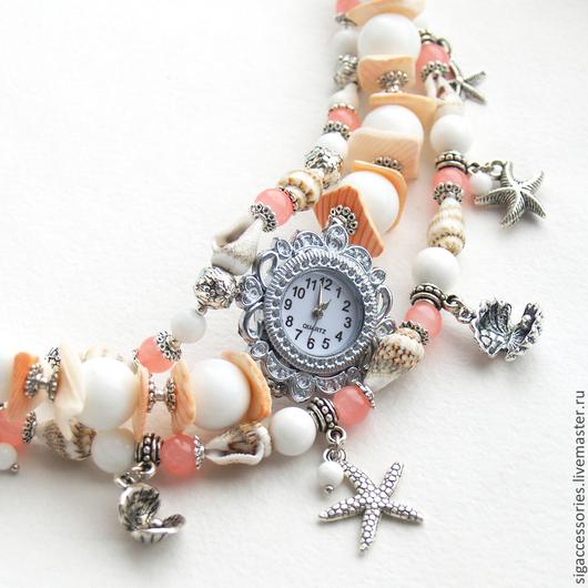 """Часы ручной работы. Ярмарка Мастеров - ручная работа. Купить """"Морские ракушки"""" - часы-браслет. Handmade. Коралловый, часы с браслетами"""