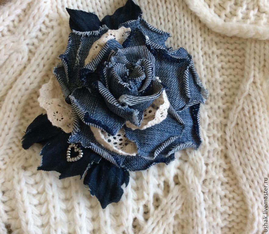 Брошь цветок своими руками из джинсовой ткани