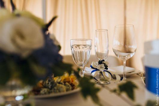 Свадебные цветы ручной работы. Ярмарка Мастеров - ручная работа. Купить Оформление свадьбы в бело-синей гамме. Handmade. Синий
