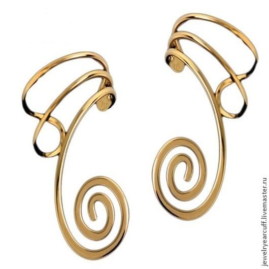 Ювелирный кафф из золота 585 пробы или Ear cuff от Stepan Vasiliev Jewelry.  Ярмарка мастеров-ручная работа. Купить кафф золото 585. Кафф серьги ручной работы и подгибается на любое ушко.