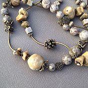 Украшения handmade. Livemaster - original item Beads long Essay. Coral, fossilized cowrie shells, Jasper, brass. Handmade.