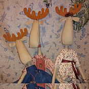 Куклы и игрушки ручной работы. Ярмарка Мастеров - ручная работа Семейный портрет. Лоси в стиле Тильда. ПРОДАНО. Handmade.