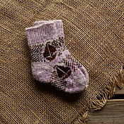 Аксессуары handmade. Livemaster - original item Socks baby wool pattern boat. Handmade.