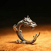 Украшения handmade. Livemaster - original item Ring Dragon dimensionless silver 925 with red zircons. Handmade.