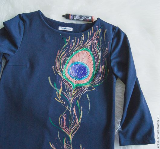 Платья ручной работы. Ярмарка Мастеров - ручная работа. Купить платье Перо павлина. Handmade. Тёмно-синий, платье с росписью