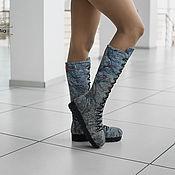 Обувь ручной работы handmade. Livemaster - original item boots: Boots Felted Grey marble. Handmade.