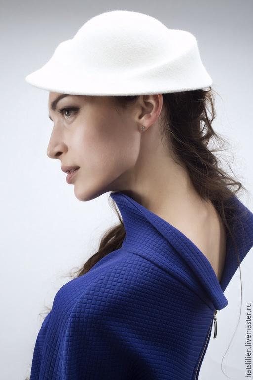 """Шляпы ручной работы. Ярмарка Мастеров - ручная работа. Купить """"Герцогиня"""", белая.. Handmade. Белый, велюр, элегантность, жемчуг"""