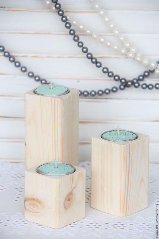 Подсвечники ручной работы. Ярмарка Мастеров - ручная работа. Купить Подсвечник деревянный Эко. Handmade. Бежевый, подсвечник, подсвечник из дерева