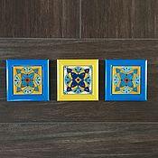 Картины и панно ручной работы. Ярмарка Мастеров - ручная работа Панно настенное из керамической плитки (набор из 3 шт). Ручная роспись. Handmade.