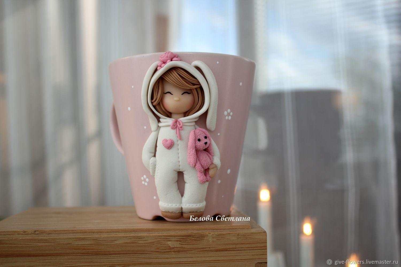 Кружка Девочка с зайкой в кигуруми, Кружки, Санкт-Петербург, Фото №1