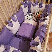 Комплект белья в кроватку ручной работы. Ярмарка Мастеров - ручная работа Комплект Люкс с защипами. Handmade.
