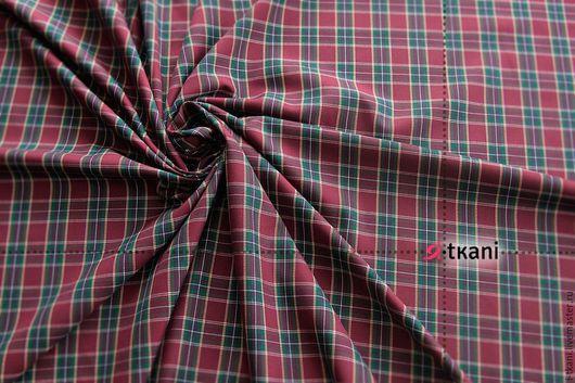 К-006 Ткань костюмная клетка. Цвет бордовый. Корея. 35%вискоза, 65%п/э. Ширина 145см.  Размер однотонной бордовой клетки 2х2см. В наличии 6 цветов!
