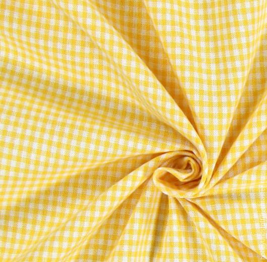 Шитье ручной работы. Ярмарка Мастеров - ручная работа. Купить Немецкий хлопок желтая клетка. Handmade. Желтый, ткань в клетку