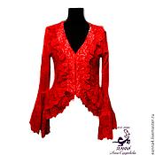 """Одежда ручной работы. Ярмарка Мастеров - ручная работа Жакет-блузка кружевной """"Красная Ягода"""" роскошный. Handmade."""