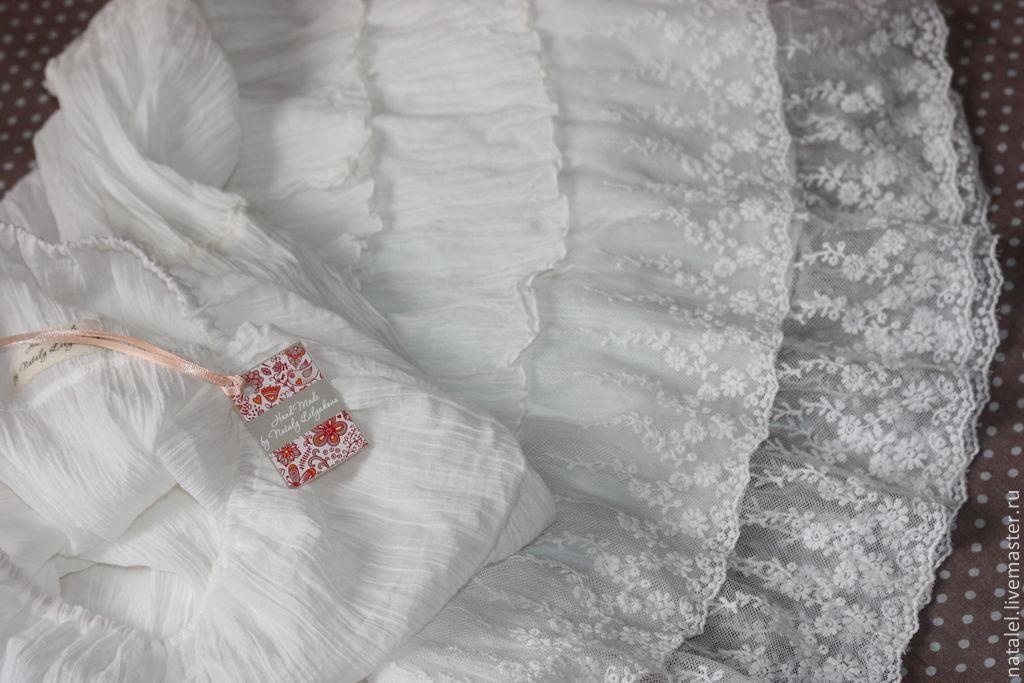 Нижняя юбка в бохо стиле прованс винтаж, 2 ряда кружева, Юбки, Орел,  Фото №1