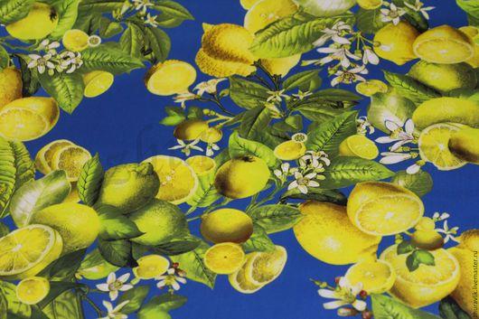 Шитье ручной работы. Ярмарка Мастеров - ручная работа. Купить Сатин  Лимоны. D&G ss 2016. Handmade. Ткани Италии