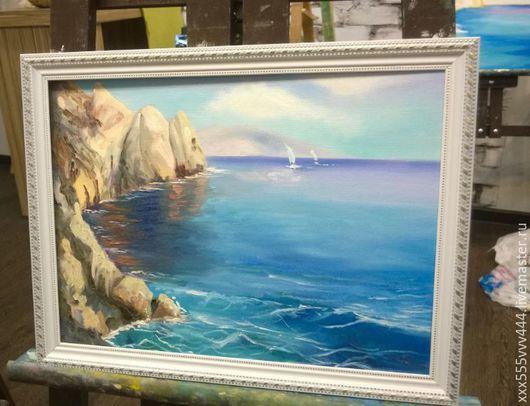 Пейзаж ручной работы. Ярмарка Мастеров - ручная работа. Купить картина маслом морской пейзаж. Handmade. Комбинированный, италия, бухта