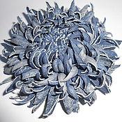 Украшения handmade. Livemaster - original item Leather flowers. CHRYSANTHEMUM