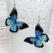 Украшения handmade. Livemaster - original item Transparent Butterfly Earrings Blue Black Butterfly Epoxy Resin Boho. Handmade.