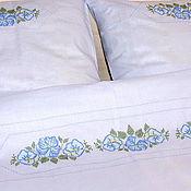 Для дома и интерьера ручной работы. Ярмарка Мастеров - ручная работа Комплект постельный--альпийская незабудка. Handmade.