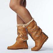 Обувь ручной работы handmade. Livemaster - original item Skidka 50%!!! Winter boots INDIANINI /mustard/. Handmade.