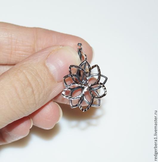 """Для украшений ручной работы. Ярмарка Мастеров - ручная работа. Купить Швензы с алмазной гранью """"Цветок"""" - серебрение 925. Handmade."""