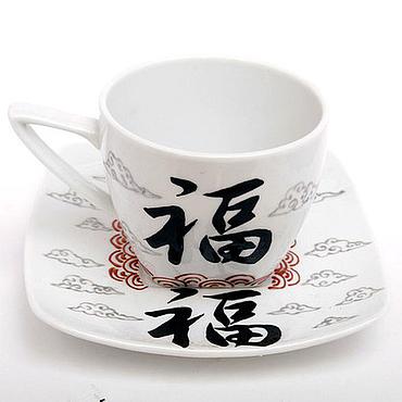 """Посуда ручной работы. Ярмарка Мастеров - ручная работа Иероглиф """"Удача"""" - чайная пара. Handmade."""