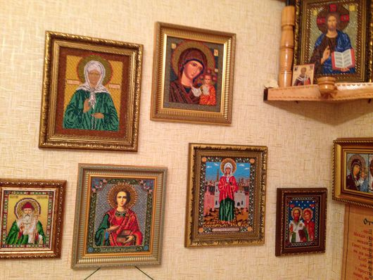 Иконы ручной работы. Ярмарка Мастеров - ручная работа. Купить Коллекция икон, вышитых бисером(более 30 штук). Handmade. Комбинированный