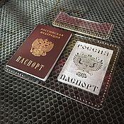 Материалы для работы с кожей ручной работы. Ярмарка Мастеров - ручная работа Комплект паспорт ( Клише + Шаблон ). Handmade.