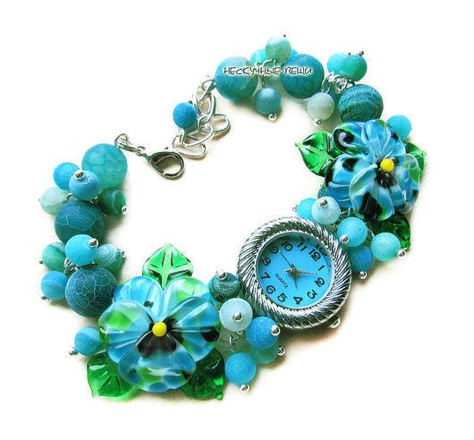 """Часы ручной работы. Ярмарка Мастеров - ручная работа. Купить """"Амазонка"""" наручные часы с бусинами лэмпворк. Handmade. Тёмно-бирюзовый"""