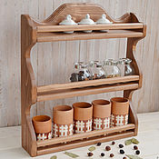 """Для дома и интерьера ручной работы. Ярмарка Мастеров - ручная работа """"Орегано"""", Настенная открытая деревянная полка на кухню для специй. Handmade."""