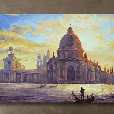 """Картины и панно ручной работы. Ярмарка Мастеров - ручная работа Картина масло холст """"Пламенеющий закат Венеция"""". Handmade."""