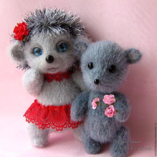 Мишки Тедди ручной работы. Ярмарка Мастеров - ручная работа. Купить Ёжик Яся и мышонок Марисоль игрушки ручной работы. Handmade.