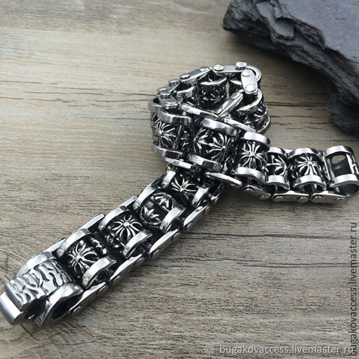 Мужской браслет из стали с крестами